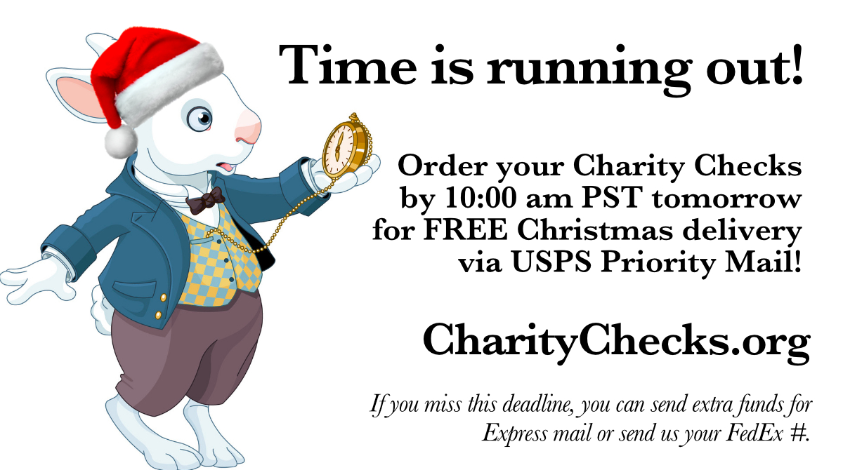 Time is running out! Order your Charity Checks by TOMORROW at 10 AM PST FOR FREE USPS PRIORITY MAIL SHIPPING TO ARRIVE BY CHRISTMAS!  #holidaygifts #christmasgifts #kidgifts #employeegifts #Redefinegifting #giftsforkids #payitforward #uniquegifts #presents