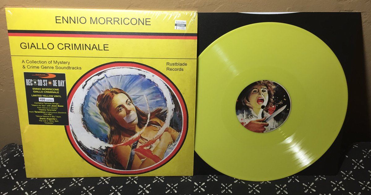 ENNIO MORRICONE • GIALLO CRIMINALE (Rustblade, 2020) Yet another compilation of the late Italian maestro's work for crime & mystery films from 1970s–80s. Limited edition yellow #Vinyl #RSD20 #Giallo #Soundtrack #RockSolidAlbumADay2020 353/366  Trailer: