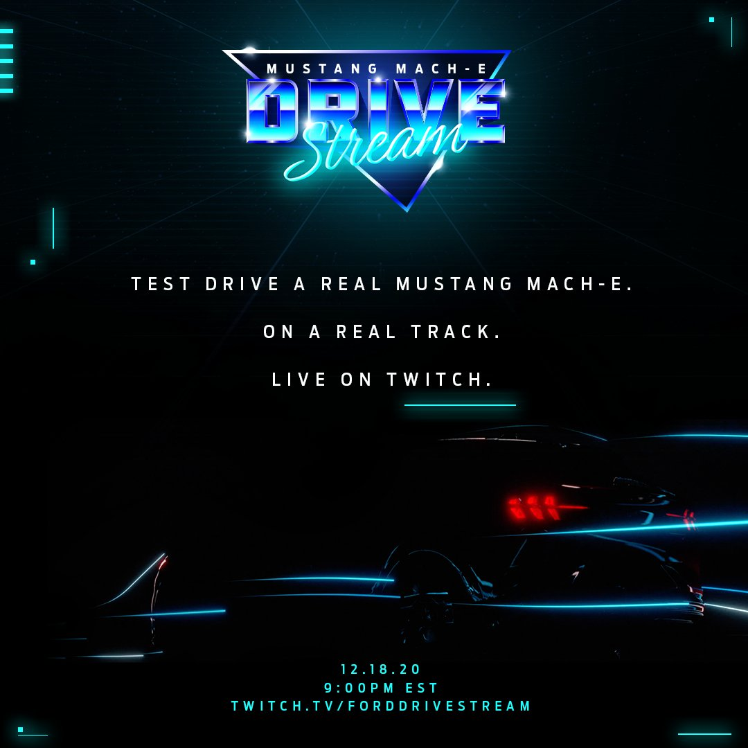 It's almost time. The official stream goes live at 9:00PM EST on   You'll need a Twitch account to virtually drive, so sign up NOW (if you just want to watch, that's cool too…) #MustangMachE #FordDriveStream