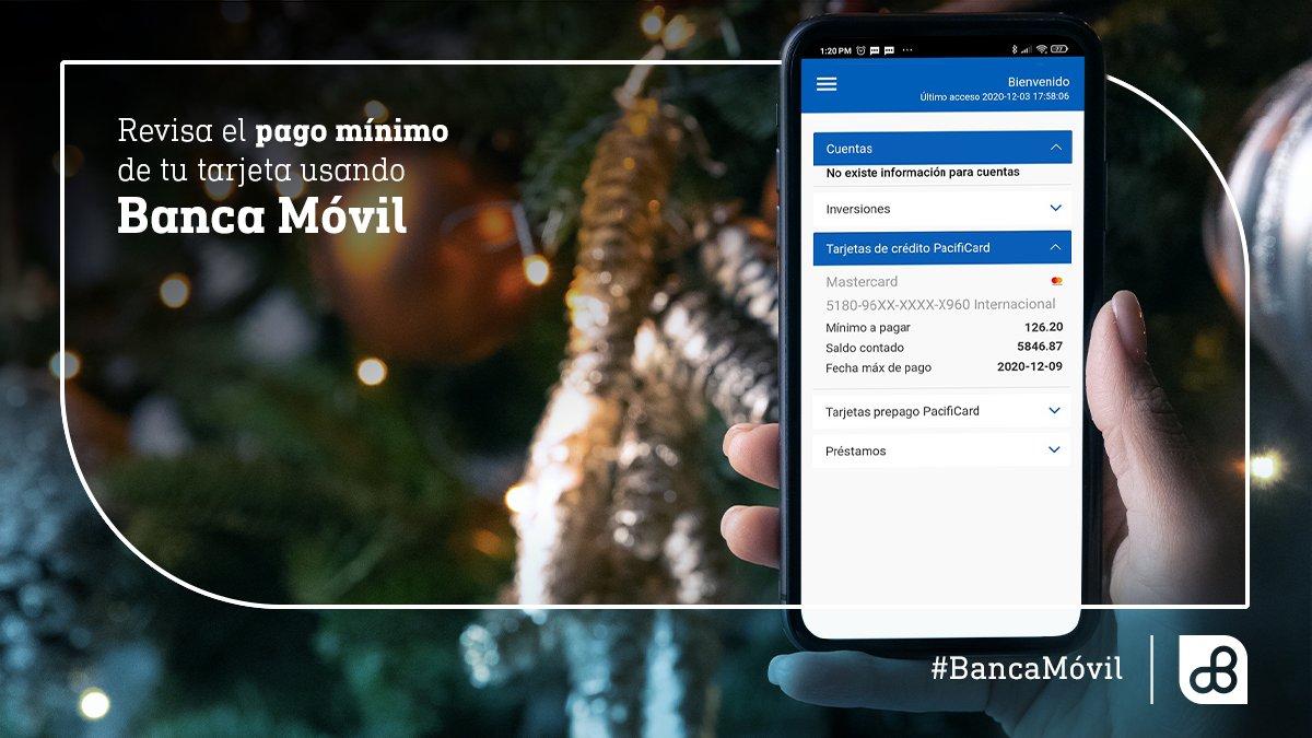 🎄Si ya tienes todos los regalos bajo el árbol y ahora quieres saber cuál será el pago mínimo de tu tarjeta de crédito #PacifiCard,💳 consulta el valor de forma instantánea a través de #BancaMóvil. 📲 https://t.co/TpGiRexnYr