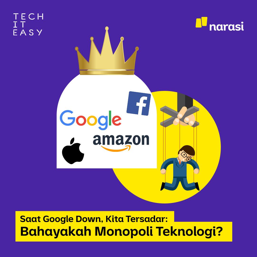 Kemarin pas Google dan Instagram 'down', kamu ikutan panik, enggak? Terus jadi mikir, hmm monopoli di dunia teknologi jadi baru berasa ya ketika ada masalah.  Sebenarnya apa aja sih dampaknya ke kita sebagai pengguna? Ikutin thread ini ya  #monopoliteknologi #techiteasy #narasi