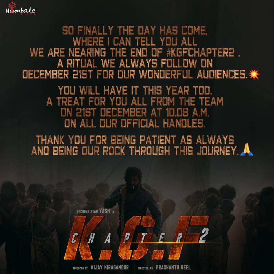 Here's the much anticipated news of the year! The wait is over! This is for all our crazy fans out there. #KGFChapter2  @VKiragandur @TheNameIsYash @prashanth_neel @hombalefilms @duttsanjay @SrinidhiShetty7 @TandonRaveena @bhuvangowda84 @BasrurRavi @Karthik1423