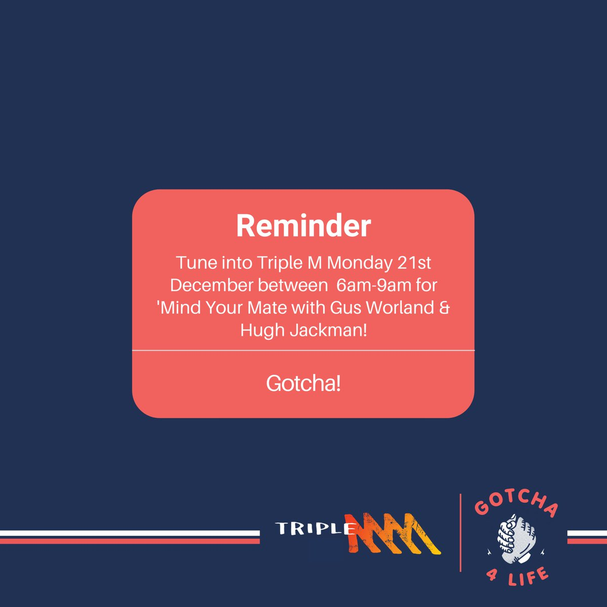 Help us kick off our #MindYourMate campaign! On Dec. 21st, tune in to @triplemsydney at 6am sharp to join best buds, @gusworland & @thehughjackmanx, as they discuss the importance of being open about your #mentalfitness, the Mind Your Mate campaign & answer a few calls from you.