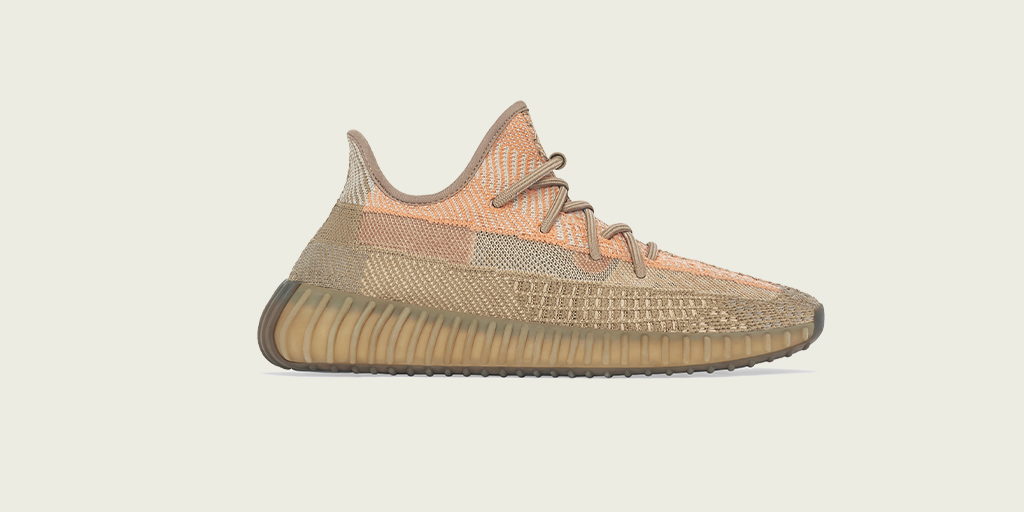 YEEZY BOOST 350 V2 SAND TAUPE. AVAILABLE TODAY AT  AND ON THE ADIDAS APP IN SELECT COUNTRIES.