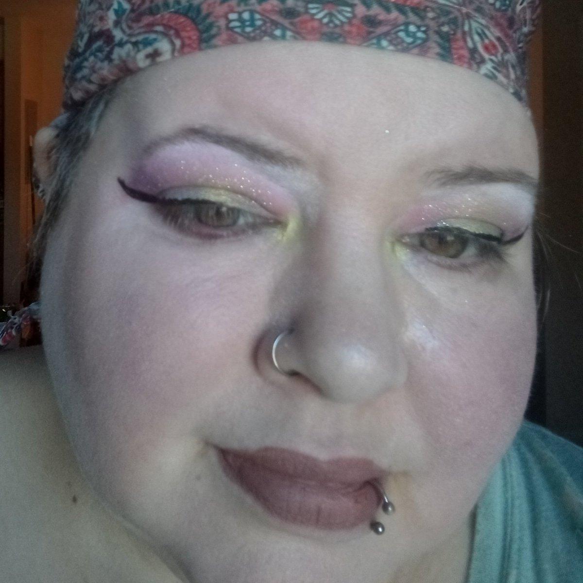 Makeup look today. #hellokittyxcolourpop #colourpop #urbandecay #NYX #femmemakeup #queermakeup #nonbinary #femme