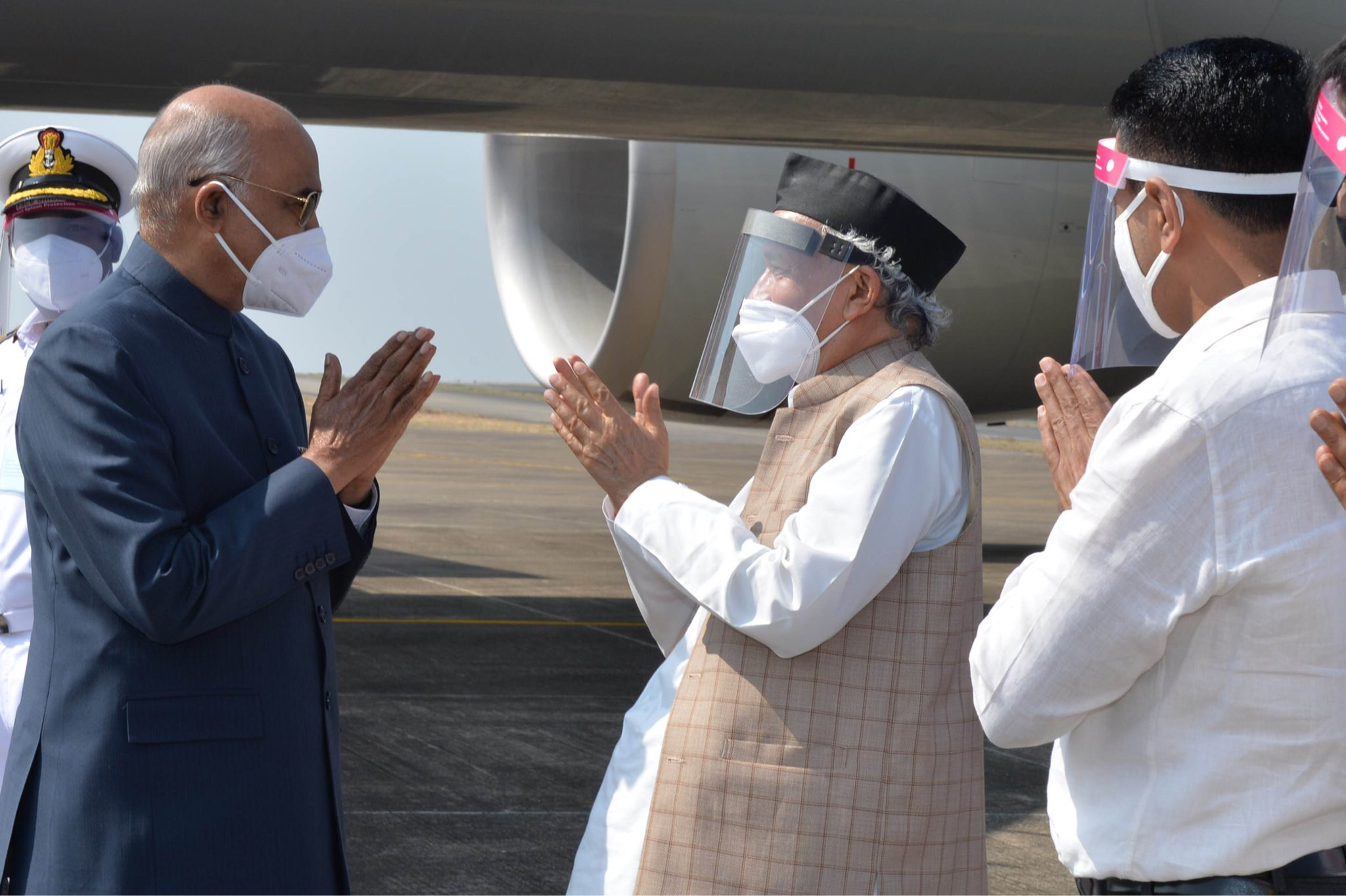 President Ram Nath Kovind arrived in Goa as part of his two-day visit, during which he will attend Goa's 60th Liberation Day celebrations.