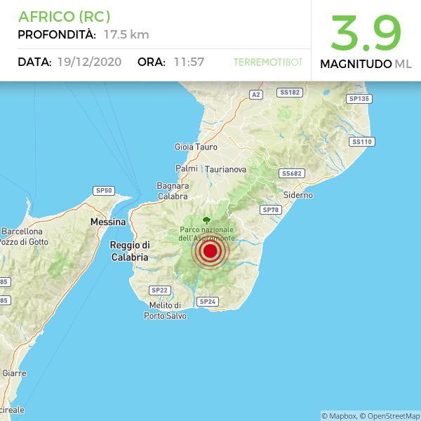 Terremoto a Reggio Calabria: scossa magnitudo 3.9 avvertito nel sud della regione (e anche a Messina). Epicentro ad Africo