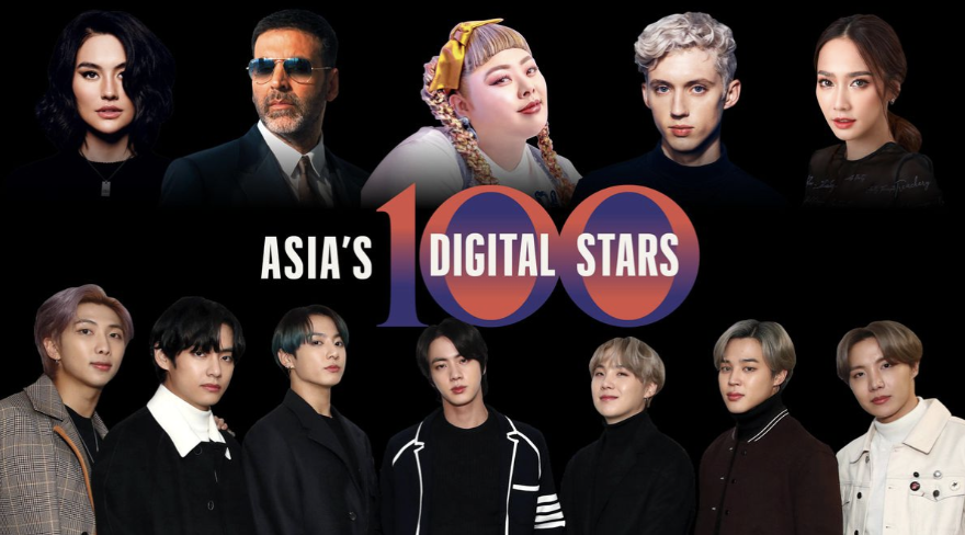 Forbes Asia's inaugural 100 Digital Stars list highlights 100 singers, bands, and film and TV stars from across the Asia-Pacific region who have taken the digital world by storm. Take a look at the full list here: