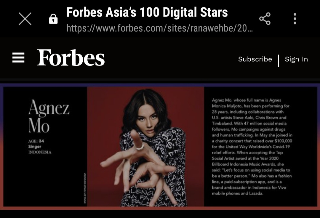 @Forbes Queen of Asia 🤗 AGNEZ MO