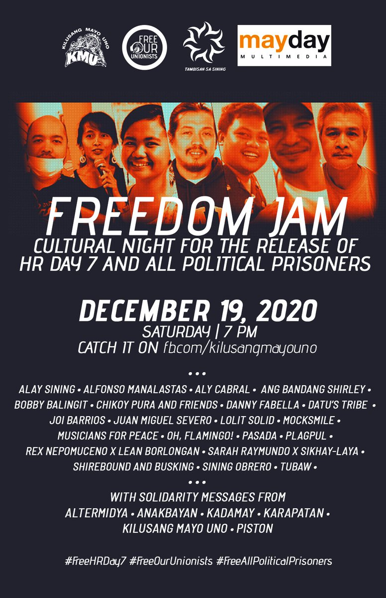 LIVE NOW: Freedom Jam for HRDay7 facebook.com/kilusangmayoun… Join us in a night of cultural performances and solidarity messages to amplify the call for the immediate release of the HR Day 7 and all political prisoners.