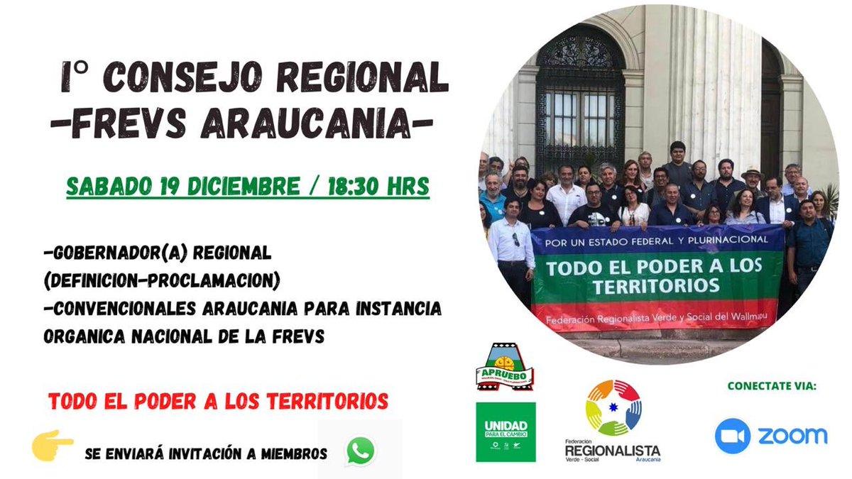 Hoy nuestro primer consejo regional FREVS Araucania, donde zanjaremos nuestro candidato a Gobernador Regional #SomosFederacion