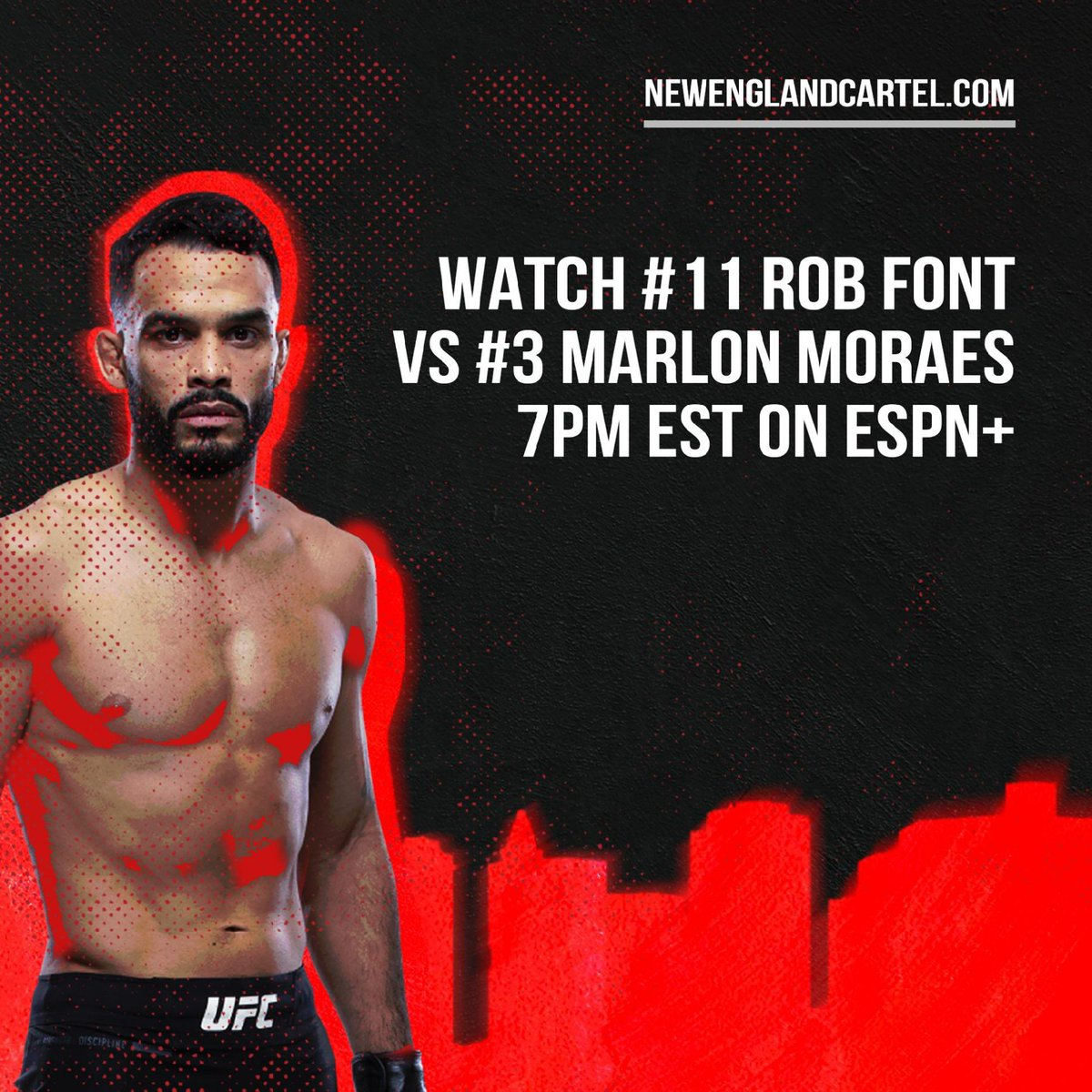 "The @NECartelMMA train rolls on, tune in to catch @RobSFont do battle with former title challenger, ""Magic"" Marlon Moraes on #ESPNPlus 🚂 #NewEnglandCartel #UFCVegas17 https://t.co/fwY8zdUUqF"