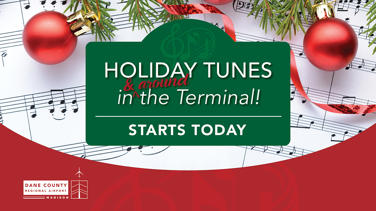 Today is the first day travelers can hear MSN Airport's Tunes in [and around] the Terminal! We're excited to be able to continue this holiday tradition this year in a safe, socially distanced way.  #TunesintheTerminal #Holidays #HolidayTravel #Tradition #MSNAirport