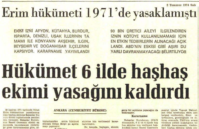 """Dr. Naim Babüroğlu on Twitter: """"-23 Temmuz 1970: ABD Adalet Bakanlığı Türkiye'yi Afyon kaçağıyla mücadele etmediği gerekçesiyle suçlar. Türkiye ABD'den bu konuda açıklama ister. -2 Temmuz 1974: ABD'ye rağmen Türkiye haşhaş ekimini"""
