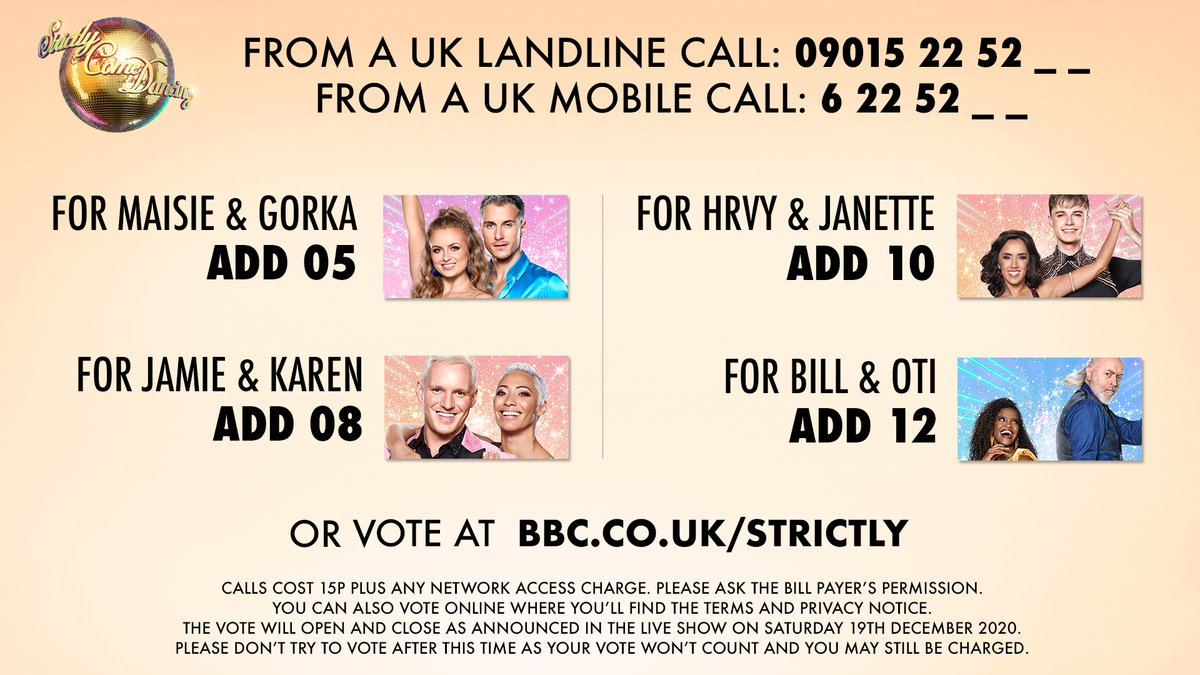 The #StrictlyFinal vote is now open! Vote for free at  or call the numbers below 👇