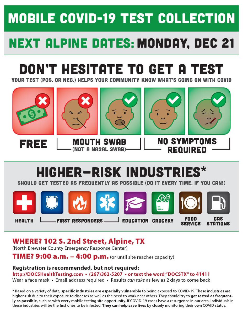 There will be free drive thru testing for the public this Monday, December 21.  WHERE: North Brewster County Emergency Response Center - 102 S. 2nd Street in Alpine  TIME: 9:00 a.m. - 4:00 p.m.