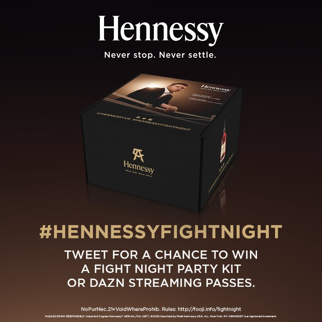 🚨 #HennessyFightNight is here and to celebrate we're giving fans the opportunity to win Hennessy merch. 🚨 Make sure to RT with #HennessyFightNight + #HennessyPromo to secure this drop.   NoPurchNec.21+.VoidWhereProhib.Ends12/19/20.Rules: