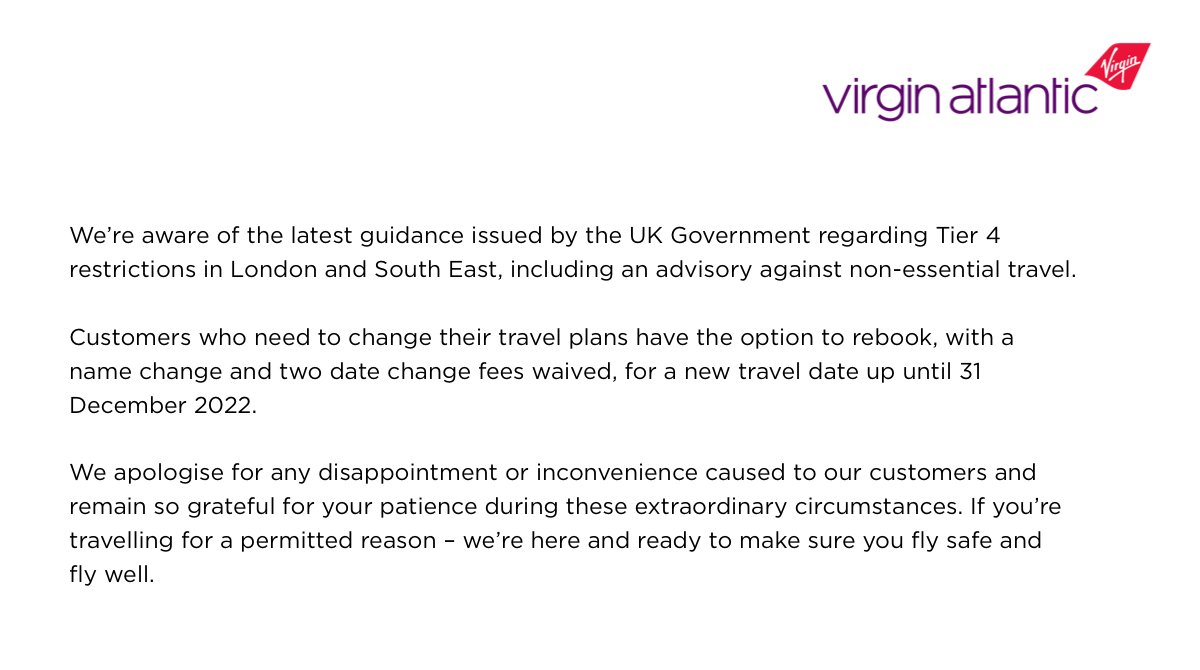 We're aware of the latest restrictions in London and the South East, including an advisory against non-essential travel. For further information please visit our Latest Travel News: