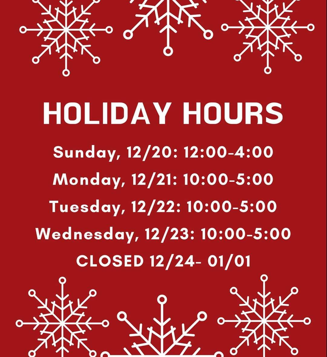Can you believe that Christmas is almost here?! To help you get your shopping done, we've added some extra days and hours ❤️✨