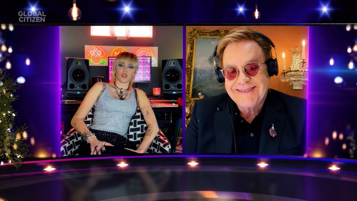 Sir @EltonOfficial wants to make sure that no one gets left behind because of HIV/AIDS or COVID-19, and that's why he's the winner of the 2020 Global Citizen Artist of the Year award. At #GCPrize, he spoke with @mileycyrus about the amazing work of his foundation, @ejaf.