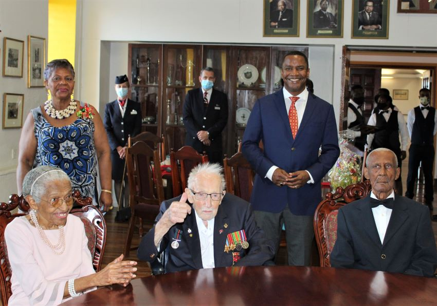 Captain Sir Tom Moore happy to be in Barbados