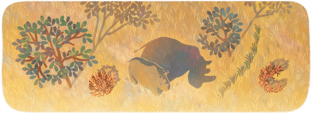 "Today's #GoogleDoodle remembers the last surviving male northern white rhinoceros—Sudan—who was known as an affectionate ""gentle giant"" 🦏  A cherished symbol of ongoing conservation efforts, Sudan reminds the 🌍 about the dangers of species extinction →"