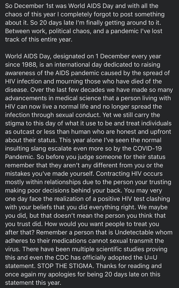 Forgot my yearly post. My apologies. #HIV #StopTheStigma #WorldAIDSDay #worldaidsday2020