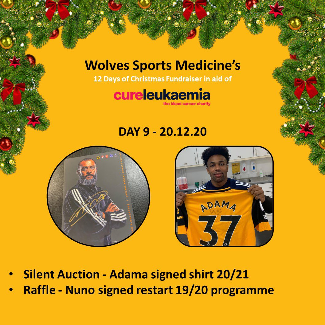 🎄Day 9 of our #12DaysOfChristmas 🎅🏻  Raffle: @Nuno signed 19/20 Restart programme 📕✍️   Auction: Signed @AdamaTrd37 20/21 home shirt! 🐺👕   Don't miss out!! Happy bidding!! Raising money for the amazing @CureLeukaemia 🙌