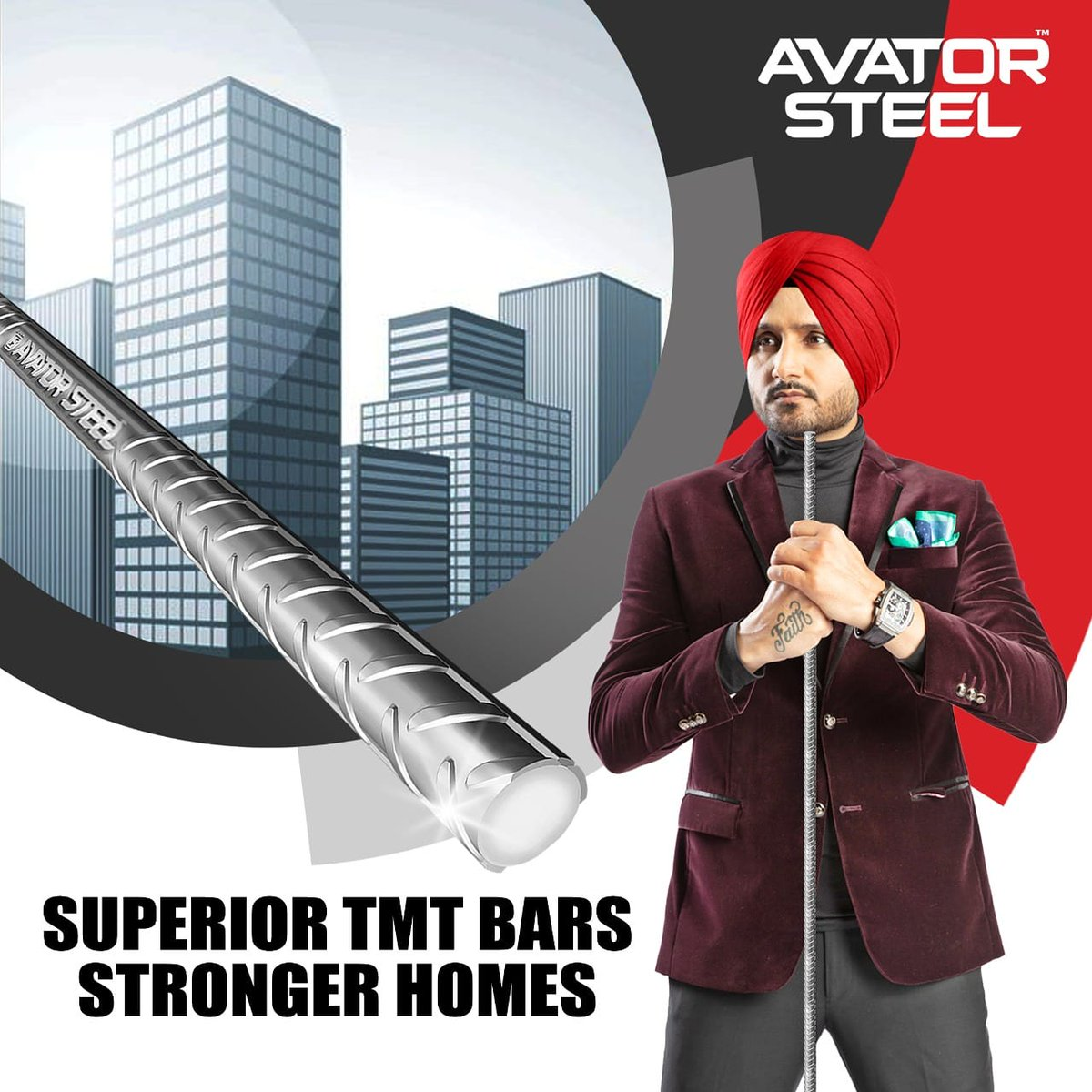 #AvatorSteel TMT bars have superior qualities which make it the best in it's domain.   So choose the best today for a better tomorrow.  #HarbhajanSingh  @harbhajan_singh