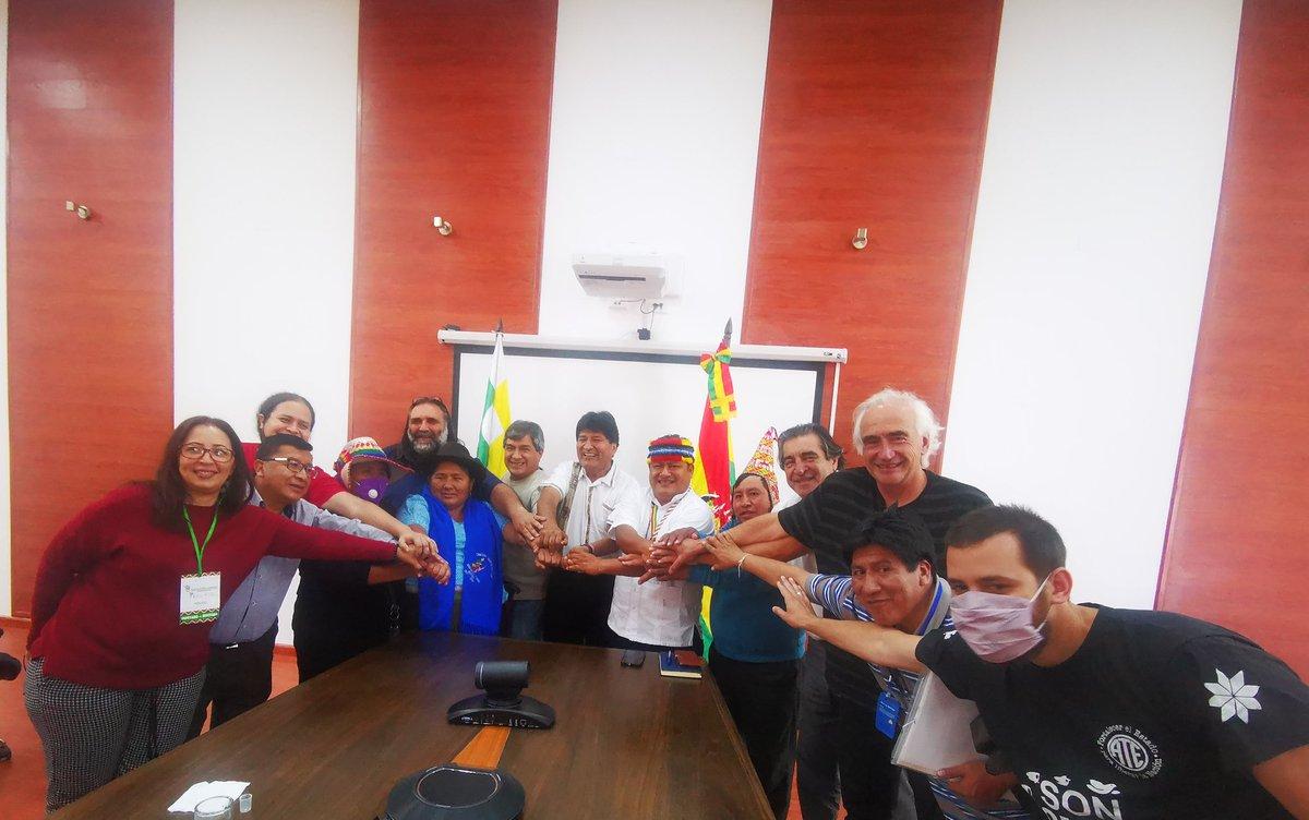 """Evo Morales Ayma on Twitter: """"En San Benito se creó una comisión integrada por Bolivia, Argentina, Venezuela y Ecuador que organizará un Encuentro, del 24 al 26 de abril, destinado a impulsar"""