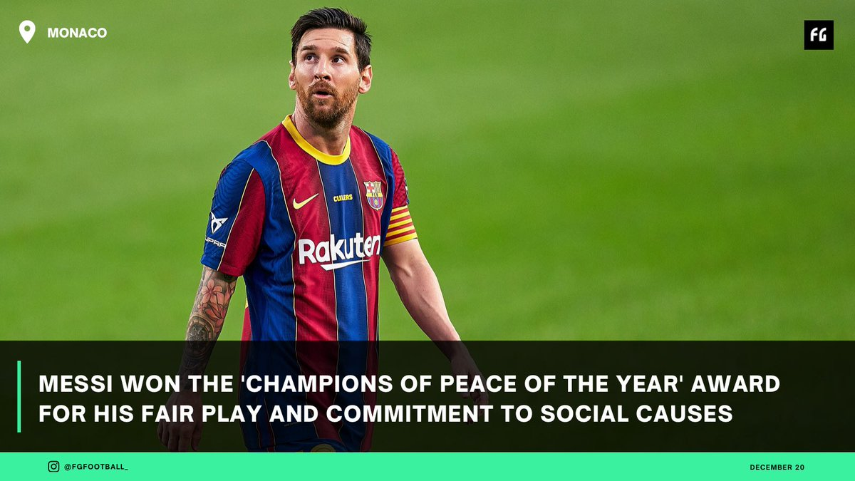 Lionel Messi won the 'Champion for Peace award by Peace and Sport, because through his foundation helped to promote education and social inclusion for disadvantaged children from around the world. #championsforchange