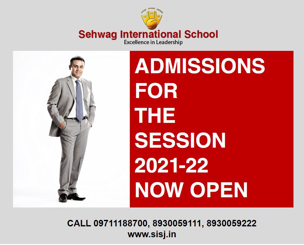 Never stop believing in yourself and never stop choosing the best. ADMISSIONS OPEN for the session 2021-22 at Sehwag International School. Call 09711188700, 8930059111 or 8930059222 or visit  #admissionsopen #session2021_22 #boardingschool #bestschools