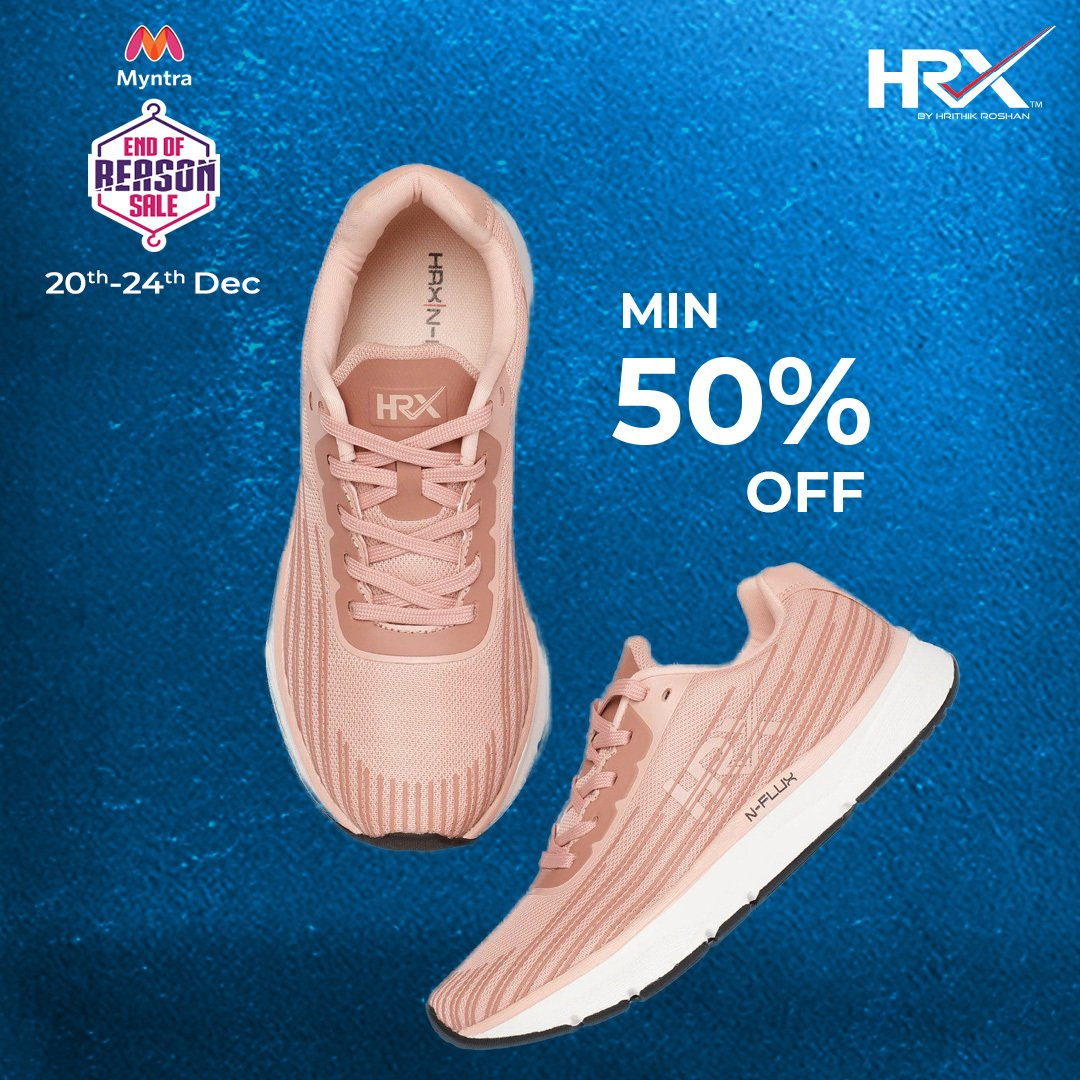 Min. 50% off on the HRX store until the 24th of December. Get ready to #TurnItUpWithHRX 💪 at the Myntra End Of Reason Sale. To explore:  . . #KeepGoing