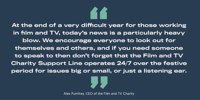 A note after yesterday's news. The Film and TV Support Line is on 0800 054 0000 📞 or  you can chat via our website 💻