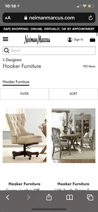 "Wow! @neimanmarcus has a whole ""Hooker Furniture"" Collection. Is this where I'm supposed to shop? https://t"