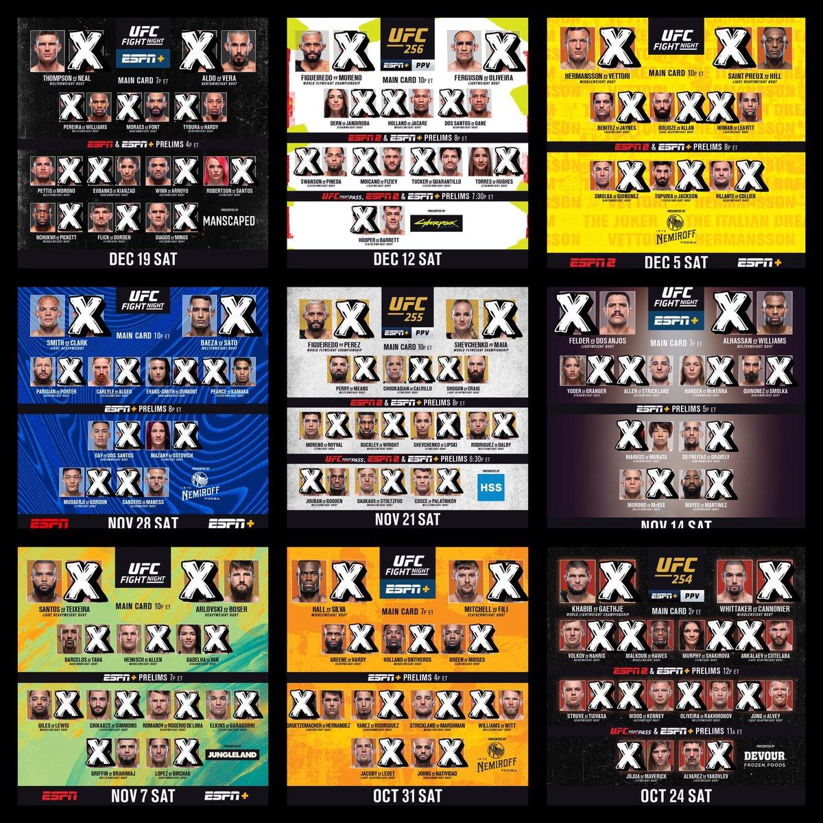 💰2020 Final #FightPick record:   • Overall: (287-162) | 63.92%  - Main Card: (124-91) | 57.67% - Prelims: (150-59) | 71.77% - Early Prelims: (13-12) | 52%   6️⃣ Draws:  • #UFCBrasilia  • #UFCVegas5  • #UFCVegas11  • #UFCFightIsland4  • #UFC254  • #UFC256  1️⃣ NC: #UFC247 https://t.co/FfBSLp7KqL
