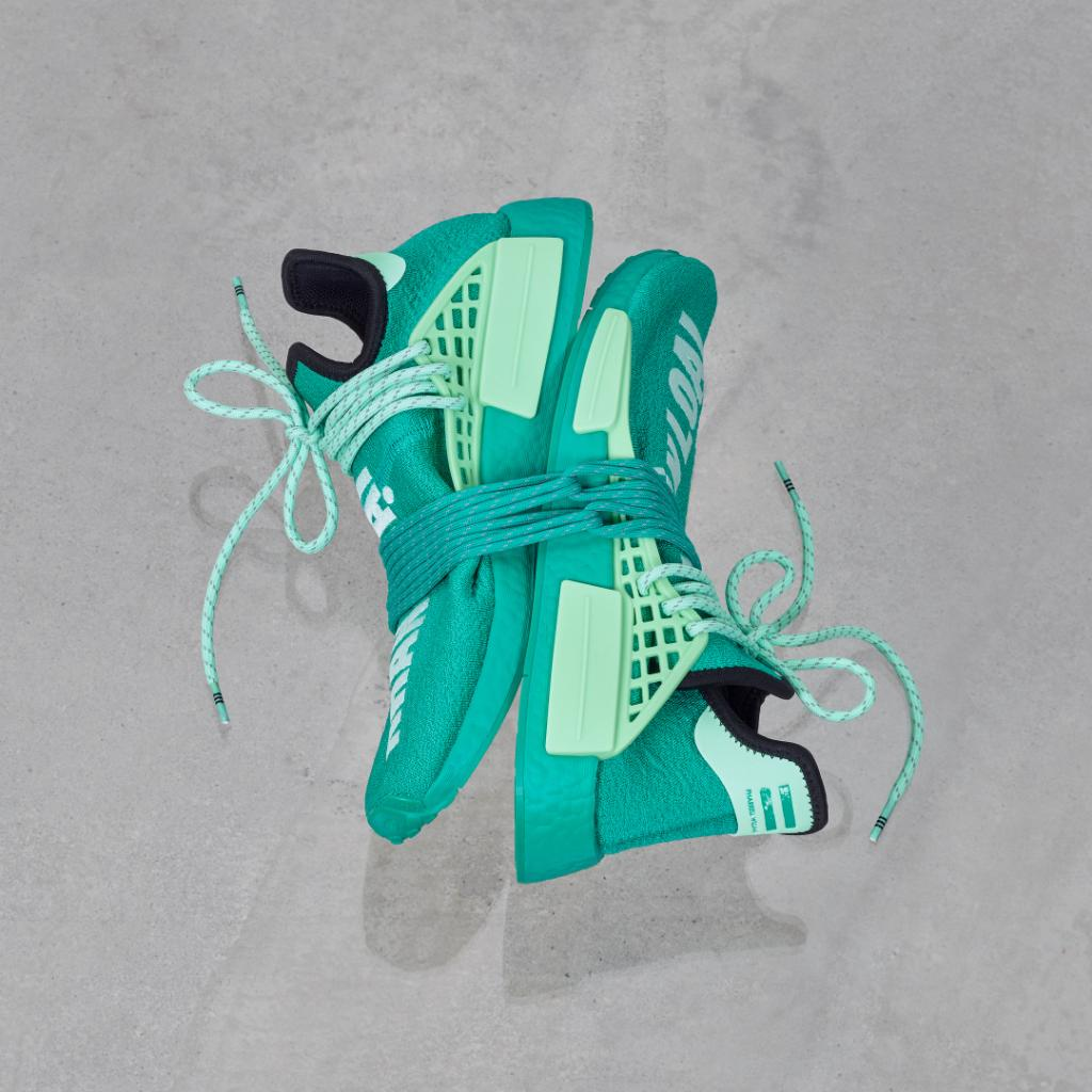 The next drop from the PW HU NMD collection is a bold take on the @pharrell silhouette. A bright green base matches mint green detailing and stitching that reads 'Human Race' in Vietnamese.  Launching on December 23 through  and select retailers.
