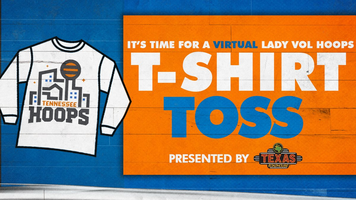 It's T-Shirt Time in Tennessee!  You can WIN a t-shirt from wherever you may be watching the Lady Vols game!  Retweet for a chance to get a Lady Vol Hoops t-shirt 'tossed' to you in the mail for cheering on our Lady Vols thanks to  @texasroadhouse!