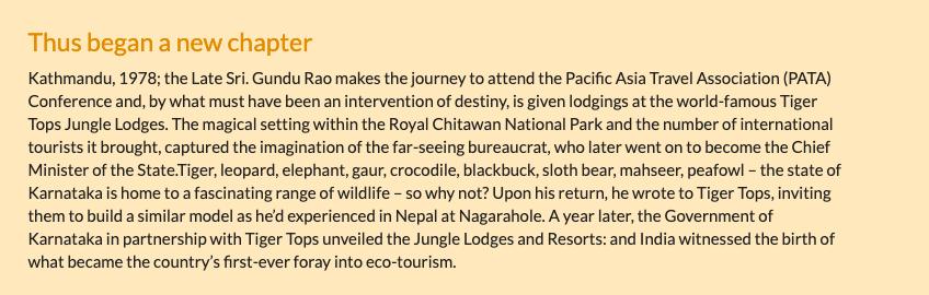 TIL: How Nepal inspired Gundu Rao to start Jungle Lodges & Resorts. cc: @dp_satish @dineshgrao