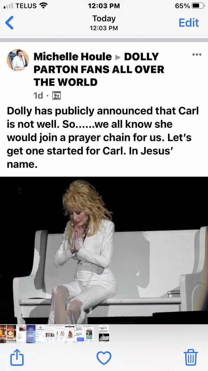 Prayers to Dolly Parton husband Carl he will heal and prayers to Dolly she will stay safe and healthy in Jesus name amen 🙏🏽♥️ https://t.co/39XnvNmJoI