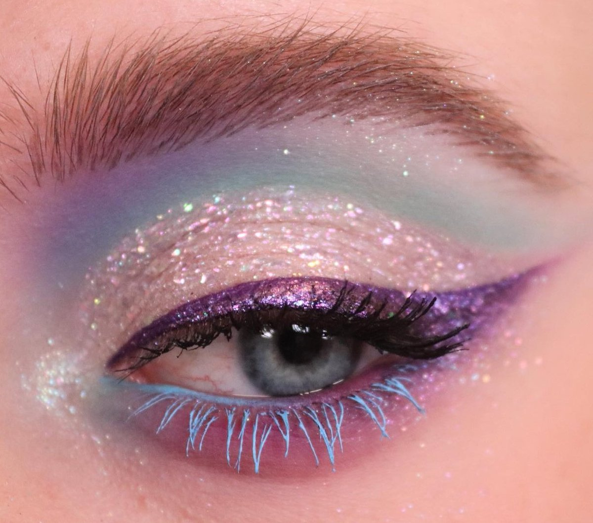 What would you call this look? 👇  #regram @pinkishpiendel created with EYE-DENTIFY GEL PENCIL EYELINERS in Pride (Violet With Pink Pearl) and Priscilla (Matte Pastel Blue)