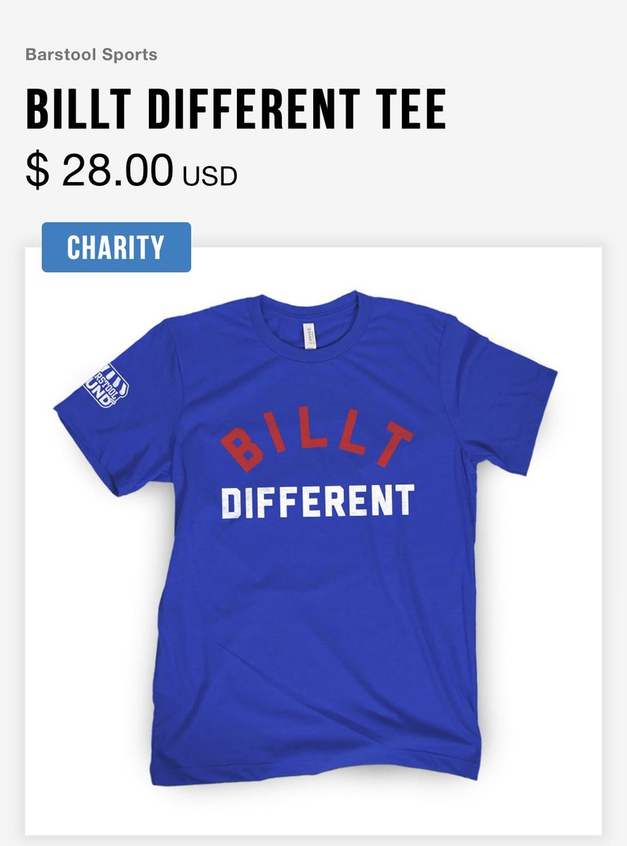 For all @BuffaloBills fans.   BILLT DIFFERENT Merch now on sale.  100% of net proceeds goes to #barstoolfund     IE - we aren't making a penny on this.  Buffalo is blue collar.   Made sense.   #BillsMafia