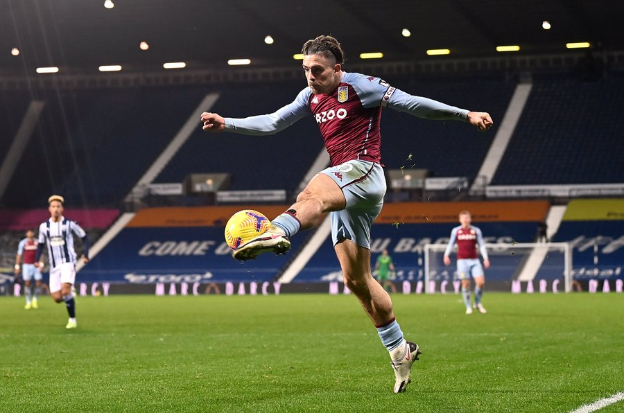 Jack Grealish playing for Aston Villa