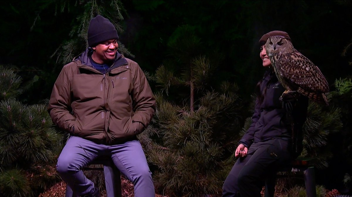 """On stage at Eco Mode: Bird expert and self-proclaimed """"animal nerd"""" @JasonWardNY of """"Birds of North America"""" takes a seat with Dmitri, a Eurasian Eagle Owl and raptor ambassador for the Cascades Raptor Center. Check it out:  #RogueRoutes"""
