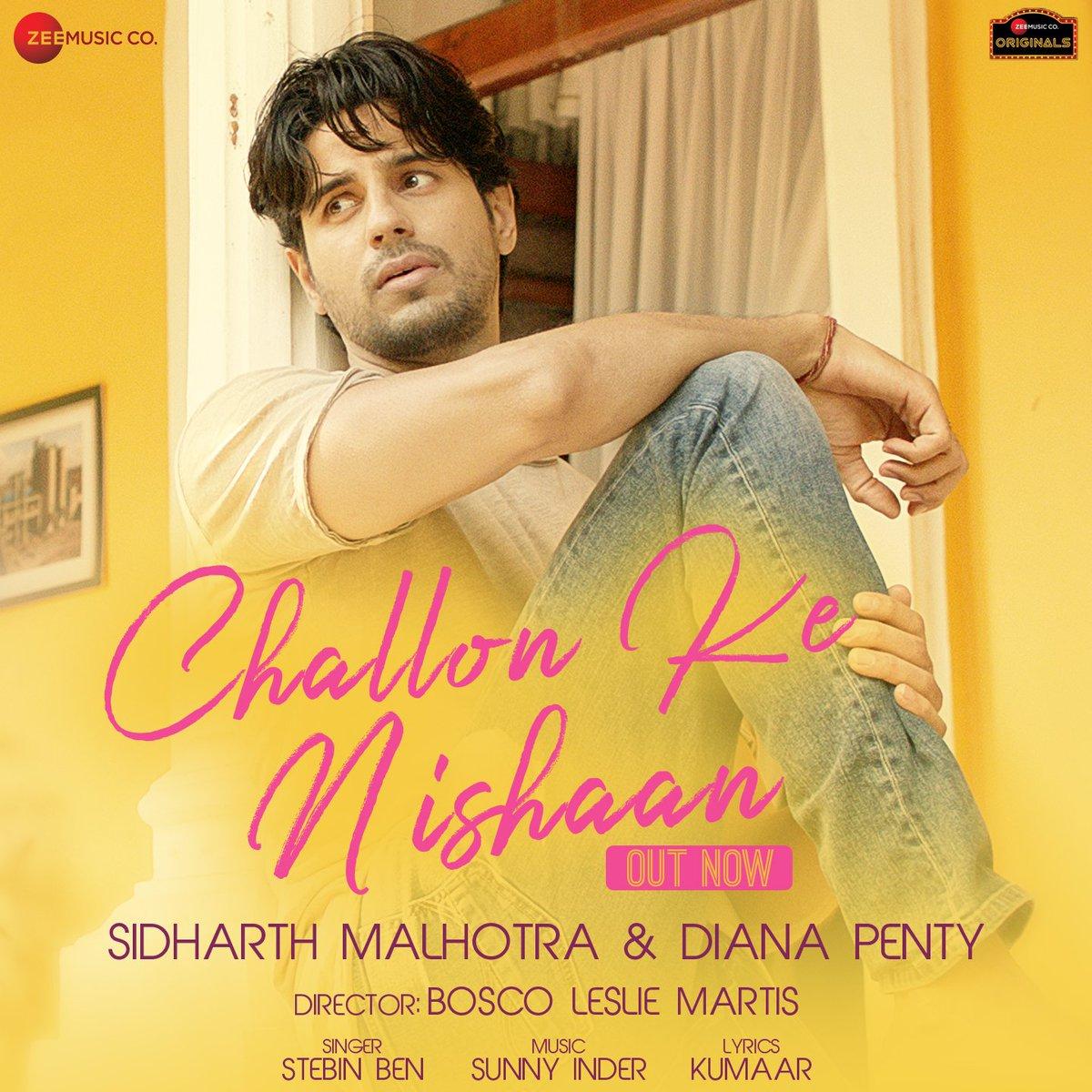 वक्त बेवफ़ाई ना करता  तो हम साथ होते  तनहाइयों की जगह आज  हाथ में तेरे हाथ होते #ChallonKeNishaan song is OUT  NOW!! . >>  . #ZeeMusicOriginals @SidMalhotra @DianaPenty @kumaarofficial #SunnyInder @BoscoMartis @anuragbedi @zeemusiccompany