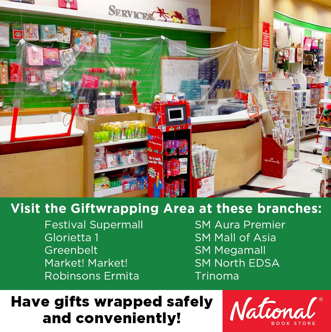 Have all of your Christmas gifts wrapped safely and conveniently at National Book Store!  Our staff are equipped with face masks and face shields, and all tools and surfaces are regularly sanitized. #Giftwrapping #Christmas #Gifts #NBSgifts #NBSeveryday