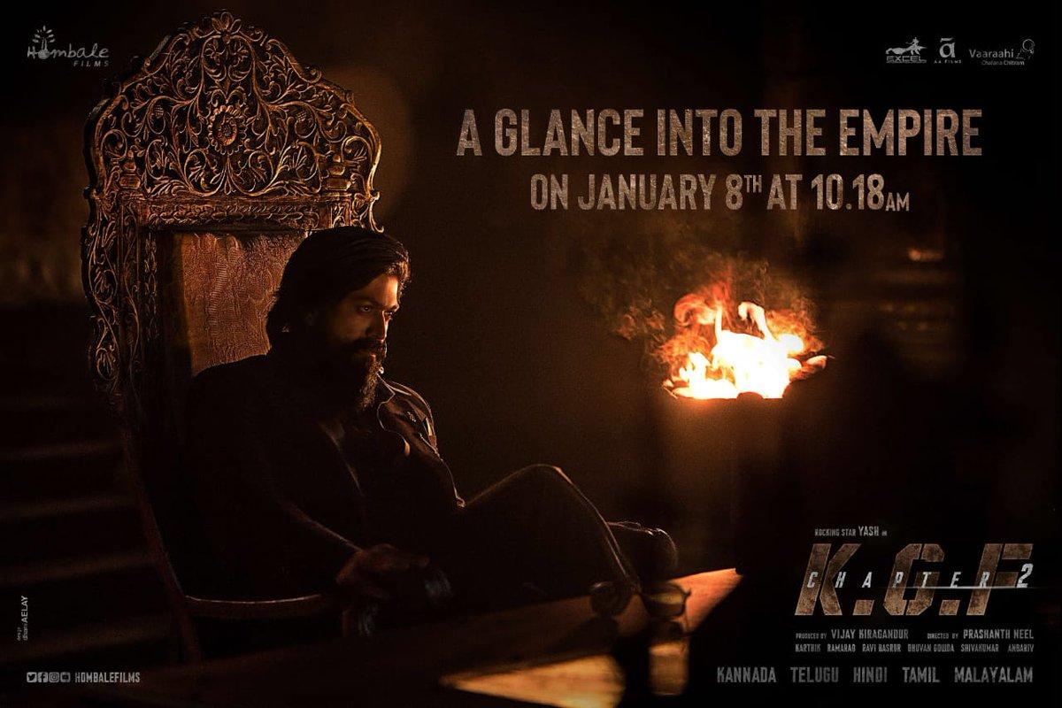 A glance into the Empire of #KGFChapter2 on January 8th,10:18AM🔥 Stay tuned!  #PVRUpdates   @TheNameIsYash @hombalefilms @prashanth_neel @duttsanjay @TandonRaveena @SrinidhiShetty7 @BasrurRavi @excelmovies  #AAFilms #KGFChapter2TeaserOnJan8