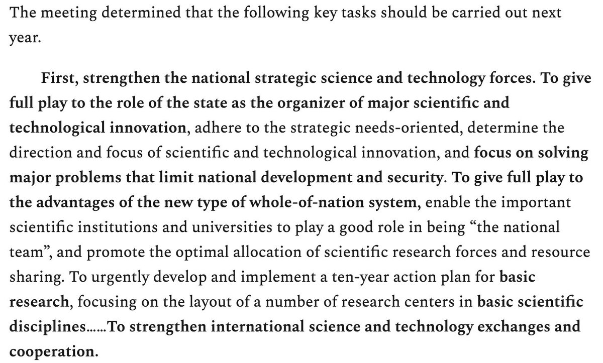 Pretty amazing that the Central Economic Work Conference, which concluded on Friday, lists science and technology work as the top priority for 2021. @ZichenWanghere notes that that sci-tech was never broken out before, much less take first spot.