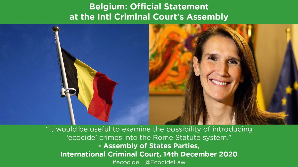 """Belgium is 1st European nation to raise criminalising ecocide at the @IntlCrimCourt: Deputy PM & Foreign Minister Sophie Wilmès stated last week """"it would be useful to examine the possibility of introducing crimes known as 'ecocide' into the Rome Statute system"""" #ICC #ASP19 #ASP"""