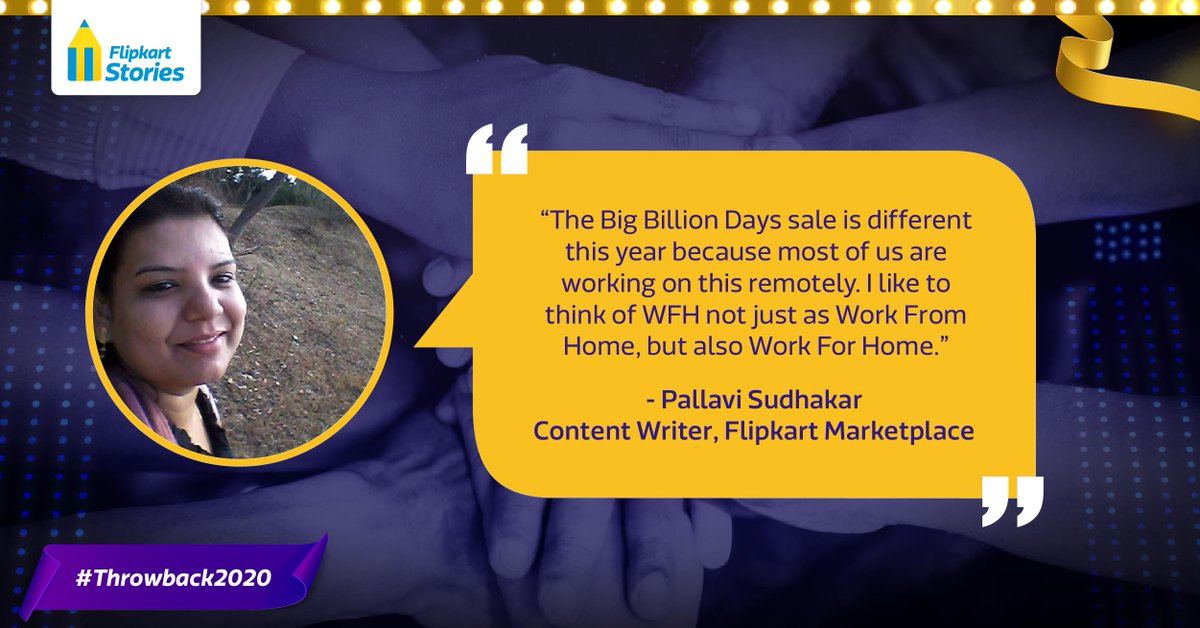 #Throwback2020 For #Flipsters, the festive spirit of #TheBigBillionDays is all about the camaraderie of coming to office and working together. 2020 was different, but we didn't let #WorkFromHome get us down! Read our #HumansOfBBD stories to find out how: